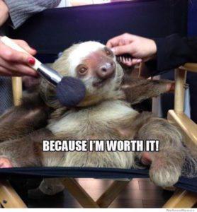 Sloth Meme - Because I'm Worth It.