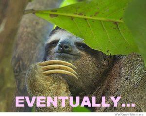 Sloth Meme - Eventually...