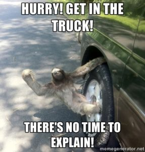 Sloth Meme - Hurry! Get In The Truck! There's No Time To Explain!