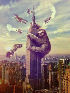 Sloth Meme - Slothzilla Climbing A Building.