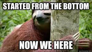 Sloth Meme - Started From The Bottom, Now We Here.
